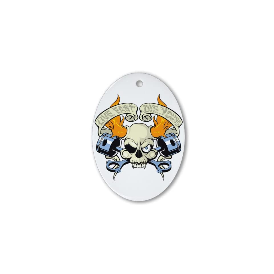 Ornament (Oval) Live Fast Die Young Skull