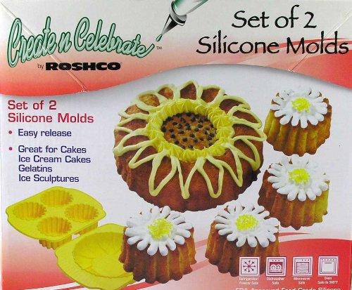 Roshco Create N Celebrate Silcone Molds Sunflower Flower Cake Set Baking Set of 2