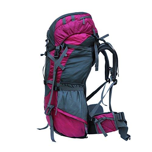 Gipfel 80L interne Frame Rucksack Wasserdicht Wandern Trekking Rucksack Tasche mit Regen Cover für Klettern, Camping, Wandern, Reisen rot - rot
