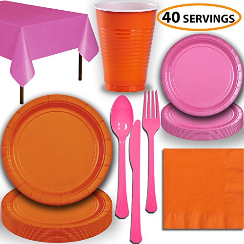 Disposable Party Supplies, Serves 40 - Orange and Hot Pink - Large and Small Paper Plates, 12 oz Plastic Cups, Heavyweight Cutlery, Napkins, and Tablecloths. Full Two-Tone Tableware Set]()
