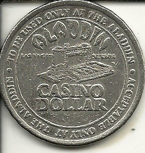 $1 aladdin building casino token coin las vegas nevada obsolete