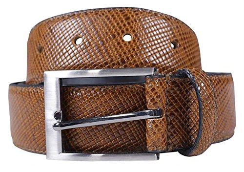 Leather Snake Genuine Belt (Click Selfie New Mens 35mm Wide Bonded Genuine Leather Snake Skin Textured Buckle Belts Mustard)