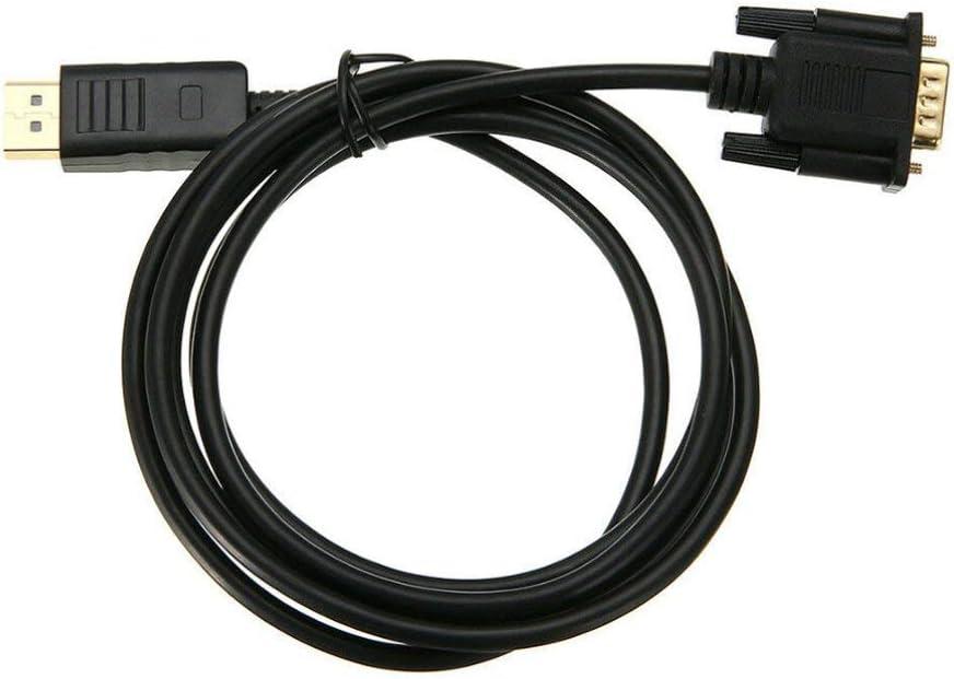 Noir Convertisseur Displayport de c/âble adaptateur de 1,8 m/ètre professionnel DP vers HDMI VGA DVI