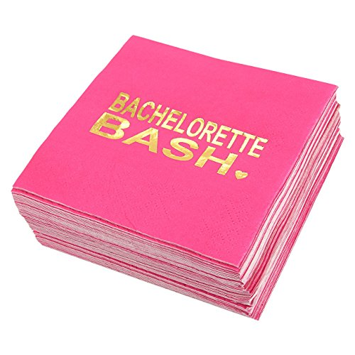 Bachelorette Party Cocktail Napkins - 50 Pack Gold Foil Bachelorette Bash Disposable Paper Party Napkins, Perfect for Bridal Shower Decorations and Party Supplies, 5 x 5 Inches Folded, Hot Pink