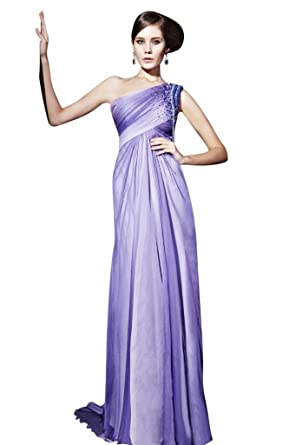Kingmalls Womens Ombre Purple One Shoulder Beads Prom Dress (XX-Large)