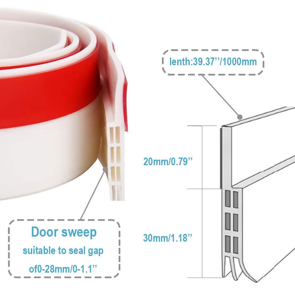 Banda de Sellado de Silicona Flexible Aislamiento del Ruido 100 x 5 cm Burlete de Puerta Adhesivo antiruido antirat/ón CCJH Resistente al Agua Color Blanco