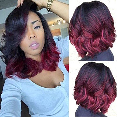 ZANA Short Bob Lace Wigs Human Hair Brazilian Virgin Remy Human Hair Lace Front Wigs with Baby Hair for Black Women Ombre #1B/burgundy(12inch lace front wig)