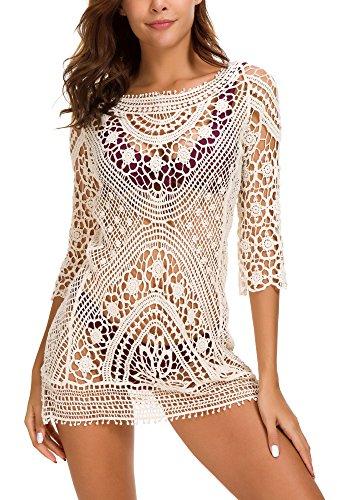 Crochet Hat Free (Urban CoCo Women's Crochet Swimwear Bikini Cover up (Cream White 2))
