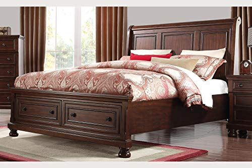 Bernards 1041 Prescott King Storage Sleigh Bed, Cherry