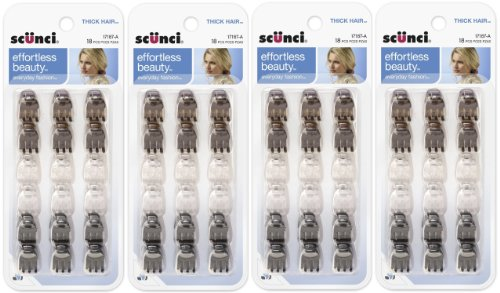 Scunci Effortless Beauty Thick Hair Mini Jaw Clips, 1 cm, 18