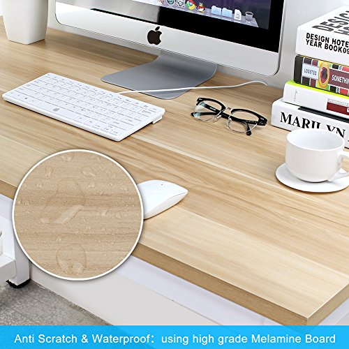 "Computer Desk, 55"" Large Office Desk Computer Table Study Writing Desk for Home Office, Walnut + White Leg Photo #8"
