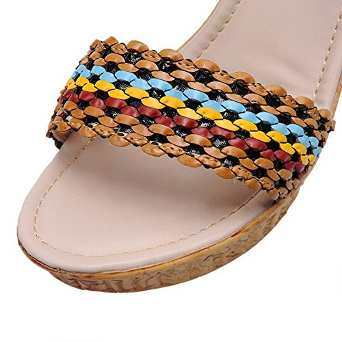 AllhqFashion Mujeres Puntera Abierta Hebilla Cuero Colores Surtidos Plataforma Sandalia Albaricoque
