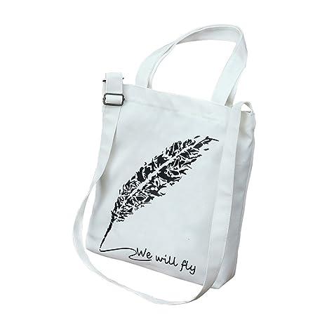 Fablcrew Bolsas de la Compra Reutilizables de Lona Bolso de Hombro Bolsa de Estudiante 32*38*4cm Blanca Plumas