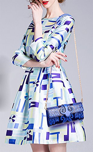 Wallet Handlebag Printed Women's Embossing Shoulder Purse QZUnique Blue Bag PU Style Vintage Chinese Leather 7axBqRP