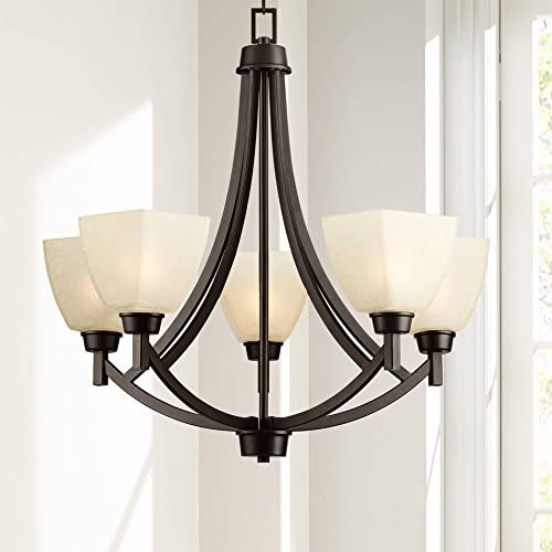 Coloma Oil Rubbed Bronze Chandelier 24 1/2″ Wide Modern Tan Glass 5-Light Fixture