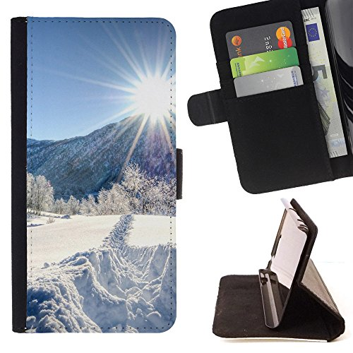God Garden - FOR Apple Iphone 6 PLUS 5.5 - Path In The Snow - Glitter Teal Purple Sparkling Watercolor Personalized Design Custom Style PU Leather Case Wallet Fli