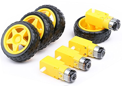 4PCs DC Electric Motor 3-6V Dual Shaft Geared TT Magnetic Gearbox Engine with 4Pcs Plastic Toy Car Tire Wheel, Mini Φ67mm Smart RC Car Robot Tyres Model Gear Parts, Yeeco by Yeeco (Image #1)