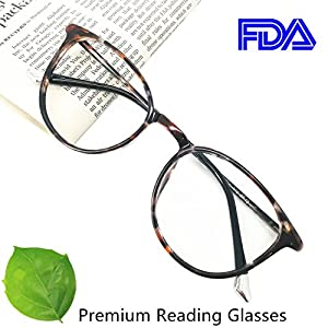 Reading Glasses 2.00 Women Light Weight Round Eyeglasses Frames Tortoise Comfortable