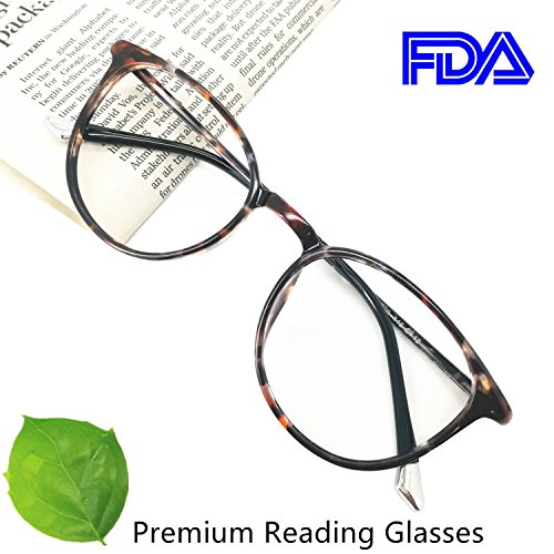 Reading Glasses 2.50 Women Light Weight Round Eyeglasses Frames Tortoise - Reading Premium Glasses