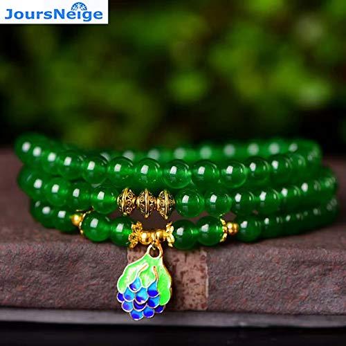 Green Chalcedony Natural Crystal Bracelets | Bead Roasted Blue Pendants | Prayer Bracelets | for Men | Multilayer Jewelry