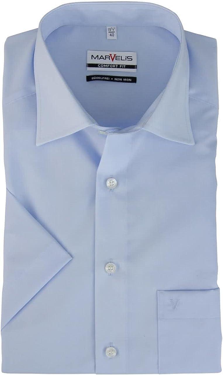 Classico Maniche a 3//4 Uomo Basic Camicia classiche Marvelis
