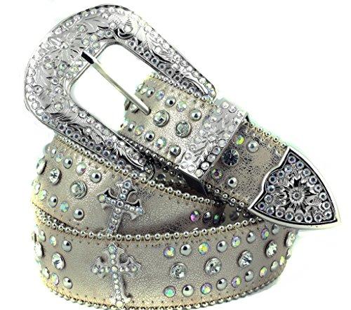 Crystal Cross Buckle Belt - Deal Fashionista Light BEIGE CROSS Concho Western Rhinestone Bling Studded Removable Buckle Belt