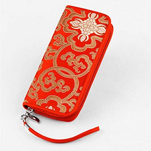 Women purse embroidered National style zipper wallet for Cell phone Pocket (Color - Red)