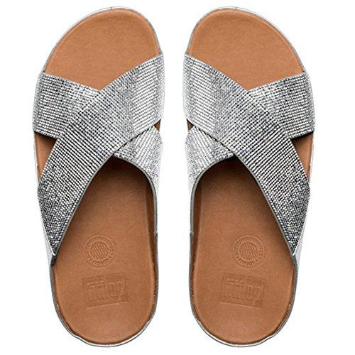 Fitflop Crystall Slide Sandalias de la mujer Plateado