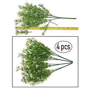 Artificial Fake Flowers Plants, 4pcs Outdoor UV Resistant Faux Green Greenery Fake Plastic Flowers Shrubs Plants Indoor Outside Hanging Planter Home Garden Wedding Décor (White) 5