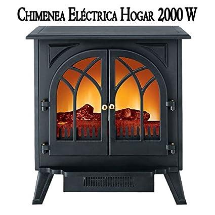 CHIMENEA ELECTRICA HOGAR 2000W. Estufa ideal para estancias de hasta 45 m2 debido a su