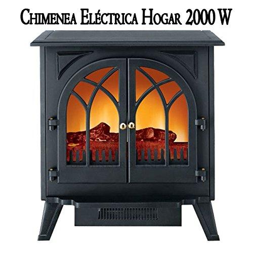 CHIMENEA ELECTRICA HOGAR 2000W. Estufa ideal para estancias de hasta 45 m2 debido a su tamaño 60 x 36 x 65 cm. Protección sobrecalentamiento y apagado de ...