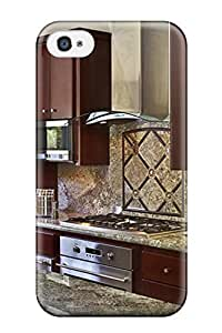 New Kitchen With Cherry Cabinets And Granite Backsplash And Countertops Tpu Skin Case Compatible With Iphone 4/4s