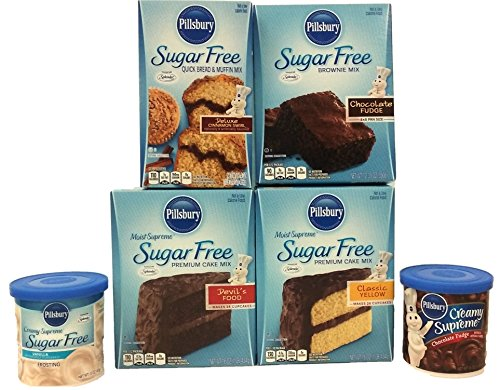 Pillsbury Sugar Free Variety Cake Mix and Frosting Bundle. Moist Cake, Supreme Brownie, Cinnamon Muffin and Ready-To-Use Icing - Brownie White