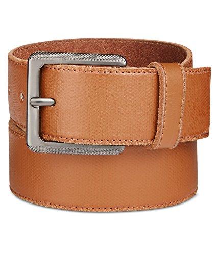 Calvin Klein Men's Calvin Klein 38mm Canvas Printed Leather Stitched Edge Belt, Whiskey Matte Gunmetal, 34