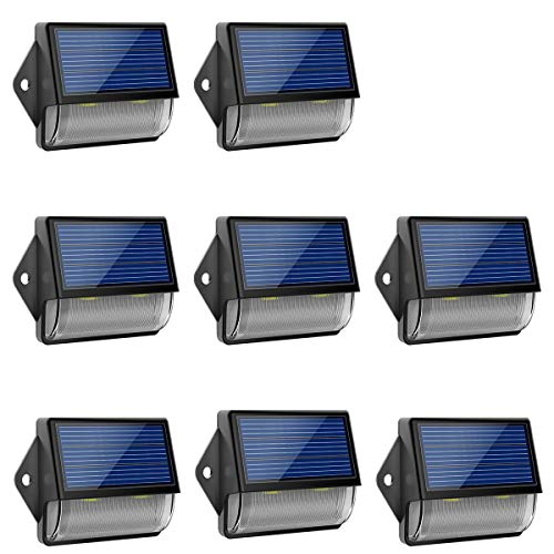 Solar Lights Outdoor, LOHAS IP65 Waterproof Wall Light, Wireless Solar LED Dusk to Dawn Light, 180° Wide Angle, Wireless Sensor Outdoor LED Light for Front Door, Back Yard, Driveway, Garage, 8 Pack