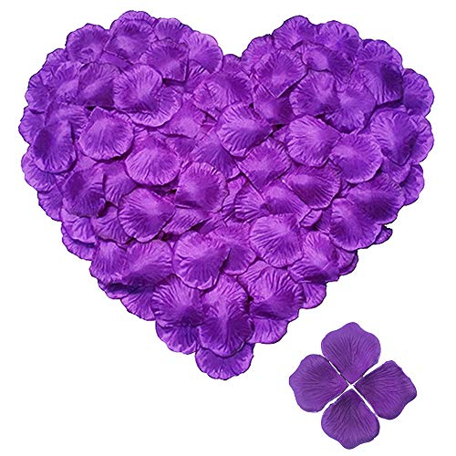 Afirst 1500 PCS Artificial Rose Petals for Wedding Decoration Anniversary Celebration Valentines Day Romantic Night Party Home Decoration?Purple?