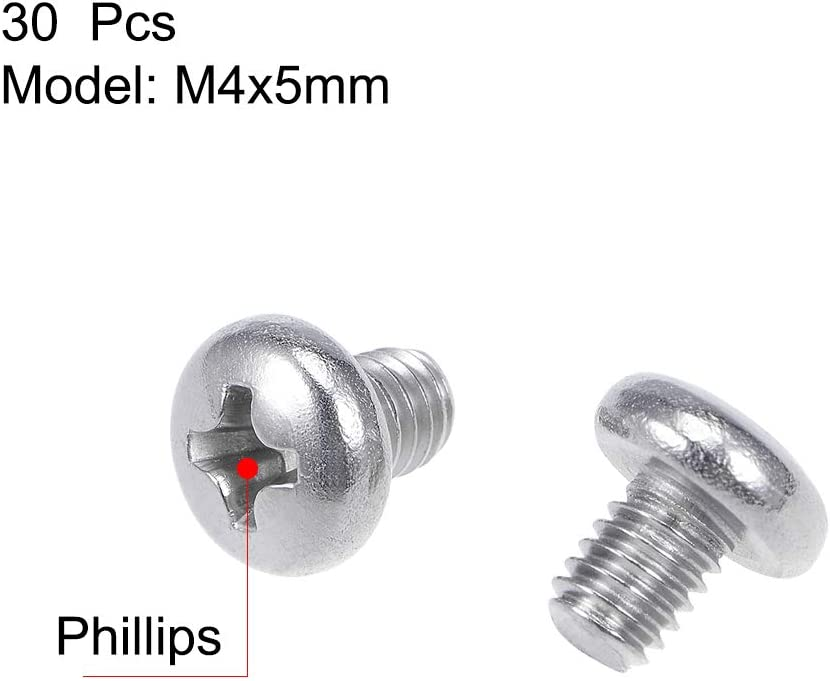 uxcell M4x5mm Machine Screws Pan Phillips Cross Head Screw 304 Stainless Steel Fasteners Bolts 30Pcs