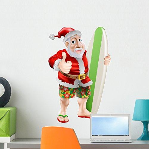 Wallmonkeys WM226804 Thumbs up Surfing Santa Claus Peel