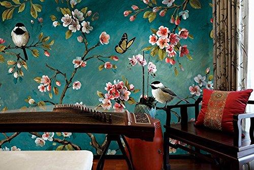 HHCYY 3D Tapeten Handgemalte Ölgemälde Stil Chinesische Blumen Und Vögel Retro Wohnzimmer Tv Hintergrund-450cmx300cm