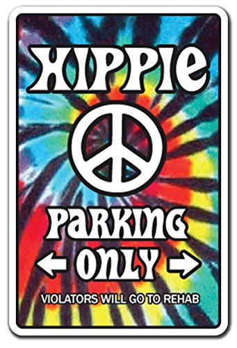 HIPPIE ~Sign~ 60's peace rainbow tiedye parking Wall Decoration