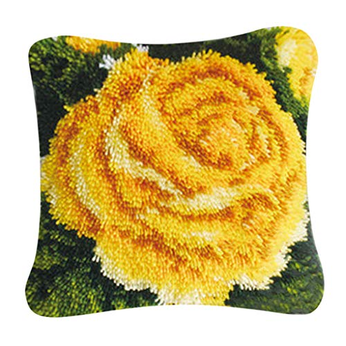 (CUTICATE 40x40cm Latch Hook Kits DIY Pillow Cover Needlework Craft Home Decoration Gifts - Yellow Rose)