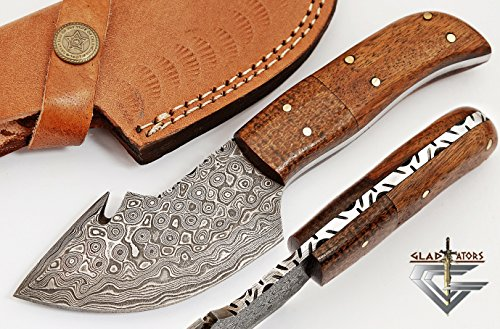 Handmade Damascus Steel Hunting Knife - Small Skinning Knife GladiatorsGuild 64