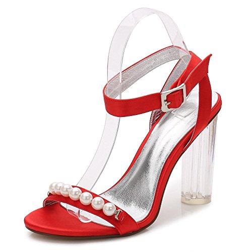 L@YC Mujeres F2615-12 Dama De Honor De La Boda Con Tacones altos De Cristal áSpero Con La Bola abierta Del Partido Del Dedo Red