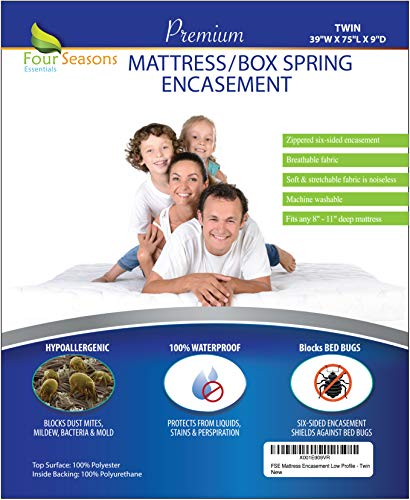 Twin Size Mattress / Box Spring Encasement (8-11 Depth) Bedbug Waterproof Zippered Protector Hypoallergenic Premium Quality Cover Protects from Dust Mites Allergens Vinyl-Free Breathable Noiseless