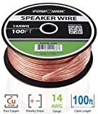 FosPower 14AWG Speaker Wire [14 Gauge | 100 FT] Premium Spooled Oxygen-Free Copper OFC Speaker Wire with Clear PVC Jacket & Polarity Stripe