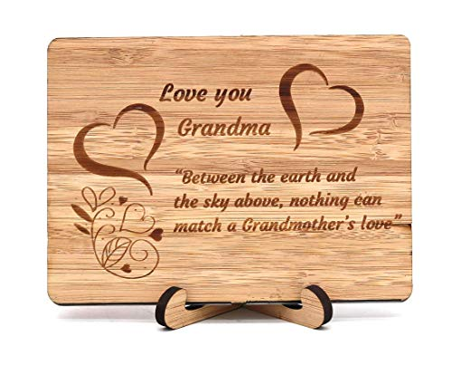 Zuaart Mothers Day Handmade Greeting Card Love You Grandma With Bamboo Wooden and Stand - Between the earth and the sky above, nothing can match a Grandmother's love - Mother's Day gifts Anniversary]()