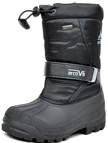 ARCTIV8 KPOLE New Kids Casual Everyday Faux Fur Lining Padded Insole Zip Up Winter Outdoor Snow Skii Boots BLACK SIZE 6