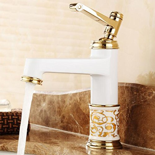 YI YA YA - European-style copper antique countertops basin hot and cold faucet wash basin single handle single-hole American blue and white ceramic faucet