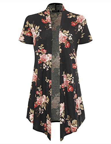 All for You Women's Soft Drape Floral Cardigan Short Sleeve Black 6403 Large