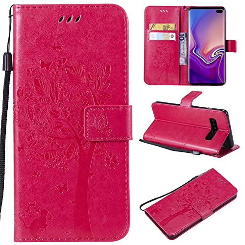 Galaxy S10 Plus Case,Samsung S10 Plus Case,Wallet Case,PU Leather Case Floral Tree Cat Embossed Purse with Kickstand Flip Cover Card Holders Hand Strap for Samsung Galaxy S10 Plus Rose
